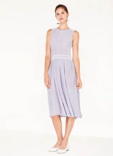 Knitted dress with stripe details and pleated skirt in lilac and white