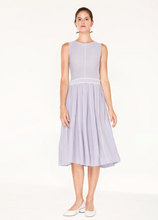 Load image into Gallery viewer, Knitted dress with stripe details and pleated skirt in lilac and white