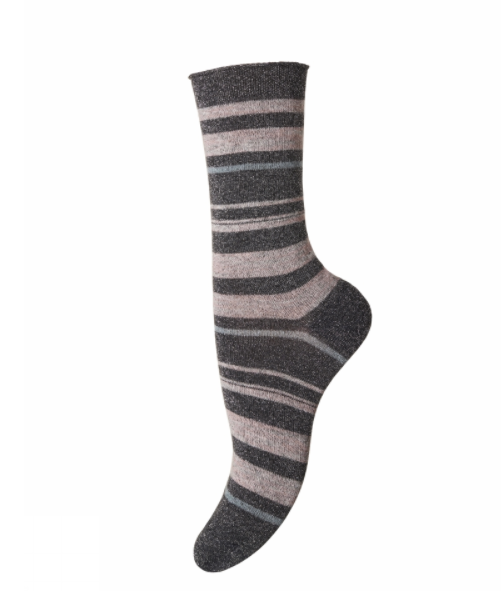 Grey & Pink Stripe Glitter Socks