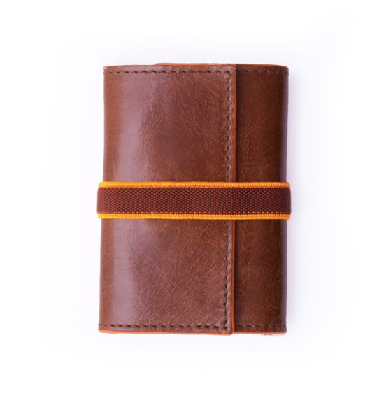Unisex Havana Brown Leather Card Wallet Holder