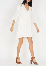 Load image into Gallery viewer, White Short Colly embroidered crepe V-neck dress
