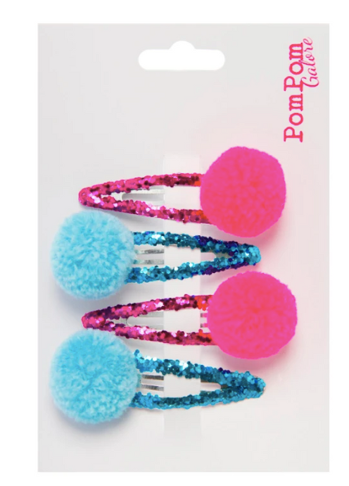 Glitter Pom Pom Hair Slides - Pink & Blue