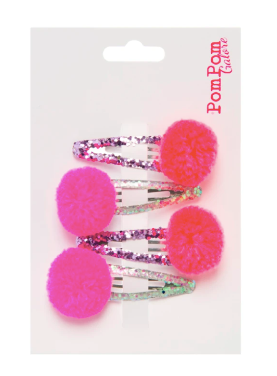 Glitter Pom Pom Hair Slides - Bright Pink & Orange
