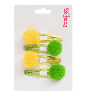 Glitter Pom Pom Hair Slides - Yellow & Green