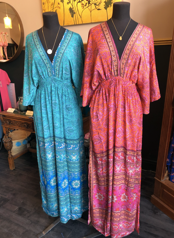 Indian Silk Kaftan Dresses - Orange & Pink