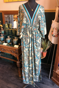 Indian Silk Kaftan Dresses - Teal & Peach Paisley