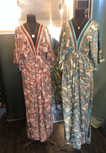 Load image into Gallery viewer, Indian Silk Kaftan Dresses - Teal & Peach Paisley