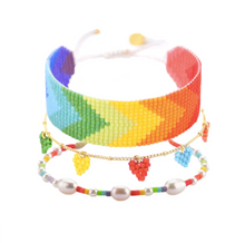 Load image into Gallery viewer, Coloured Rainbow Hearts Beaded Bracelet