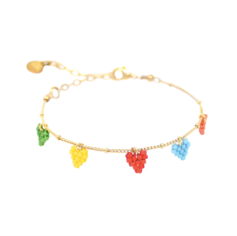 Coloured Rainbow Hearts Beaded Bracelet
