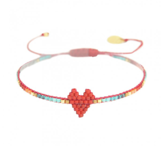 Red Rainbow Heart Beaded Bracelet