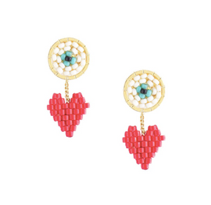Red Rainbow Cupid Heart & Protective Eye Beaded Earrings