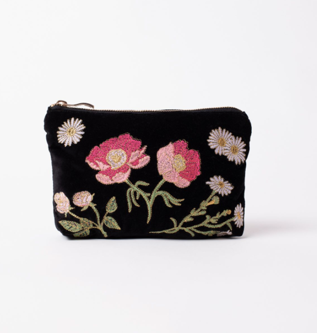 British Blooms Black Velvet Makeup Bag