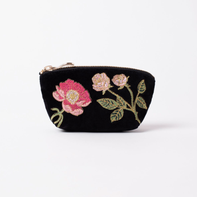 British Blooms Black Velvet Coin Purse