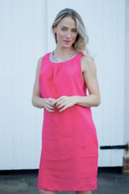 Load image into Gallery viewer, Raspberry Linen Sleeveless Dress with Gold Sequin Collar