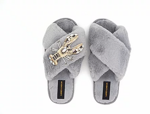 Grey Fluffy Slippers Lobster Brooch