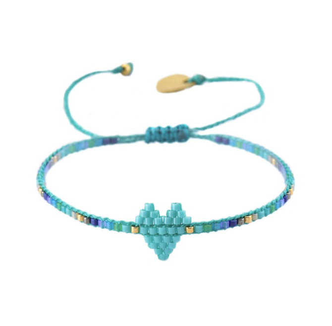 Turquoise Rainbow Heart Beaded Bracelet
