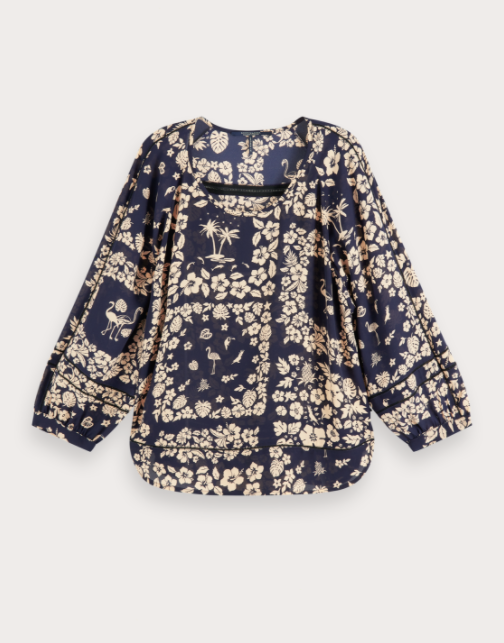 Navy Loose Floral Print Top