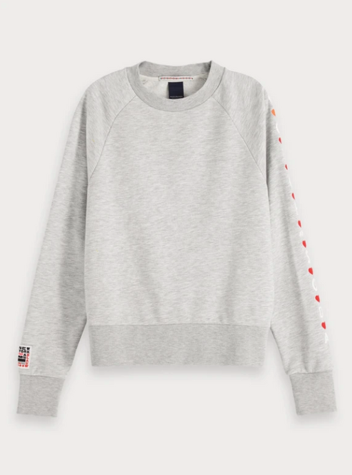 Grey Melange Sweatshirt - Red Embroidered Hearts