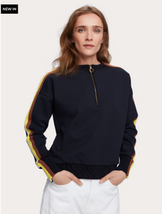 Long sleeve half-zip crew neck sweatshirt