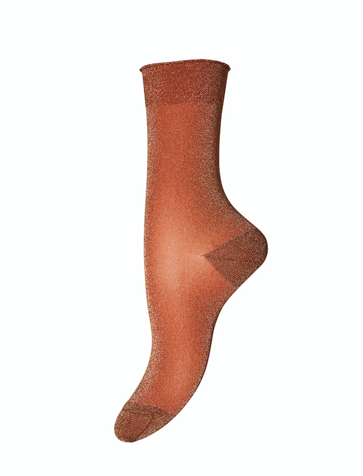 Burnt Orange Glitter Socks