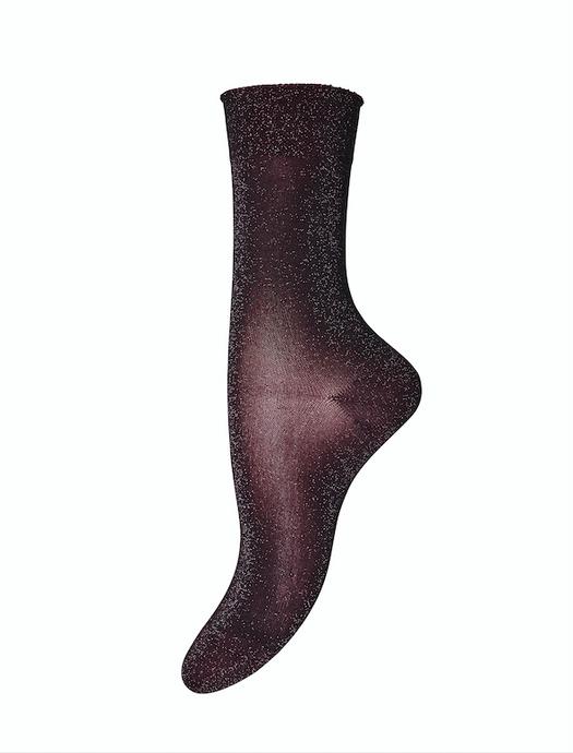 Burgundy Glitter Socks