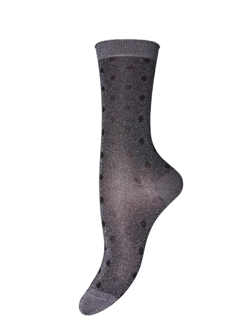 Silver & Black Spotted Glitter Socks