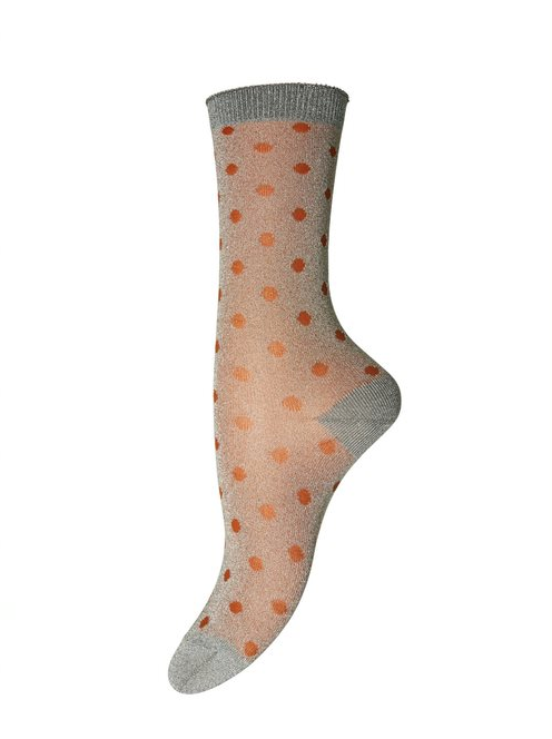 Silver & Orange Spotted Glitter Socks