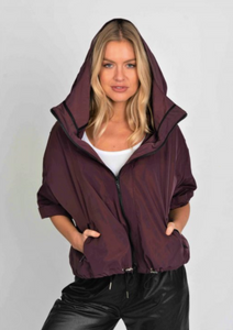 Hood & Zip Rain Jacket - Bordeaux