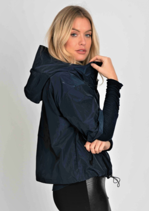 Hood & Zip Rain Jacket - Navy