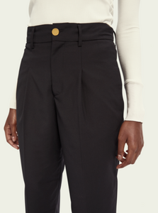 Black tailored regular length high waist pants