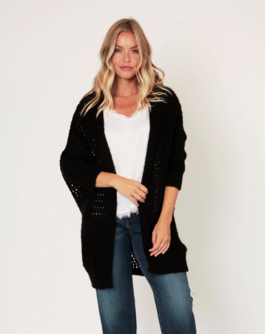 Long Chunky Knit Cardigan With Hole Design - Black