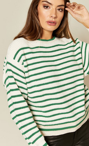 Green and White Stripe Knit