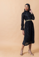 Load image into Gallery viewer, Black Velvet Heart and Spotted Love Dress