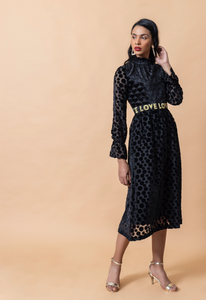 Black Velvet Heart and Spotted Love Dress