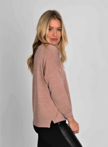 Lurex V Neck Sweater Pink