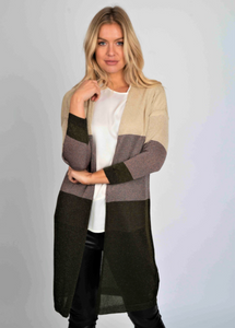 Colour Block Lurex Long Cardi - Beige - Rust - Olive - One Size