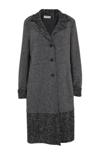 Grey Wool Long Blanket Coat