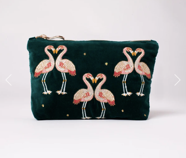 Flamingo Velvet Makeup Bag