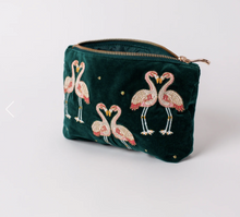 Load image into Gallery viewer, Flamingo Velvet Makeup Bag