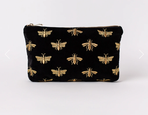 Bee Black Velvet Everyday Pouch