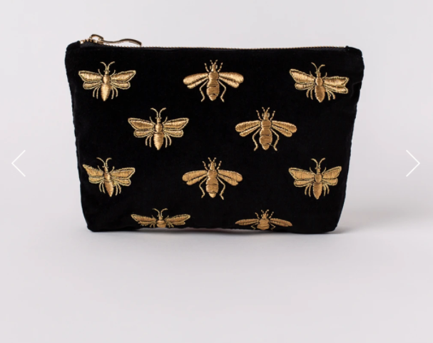 Pre Order - Bee Black Velvet Everyday Pouch