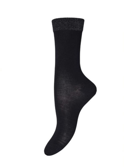 Wool Glitter Trim Sock - Black