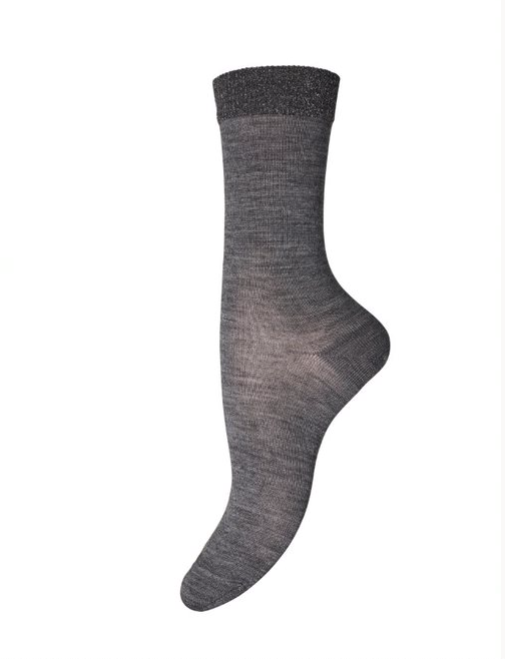 Wool Glitter Trim Sock - Grey