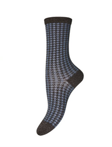 Indy Check Sock - Blue & Brown