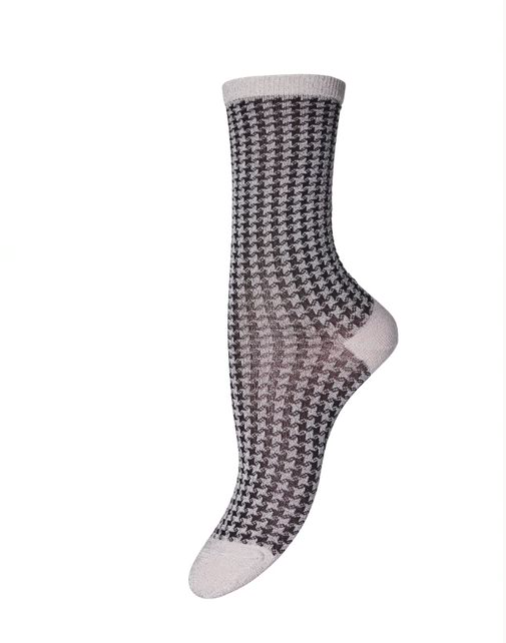 Indy Check Sock - Black & Silver