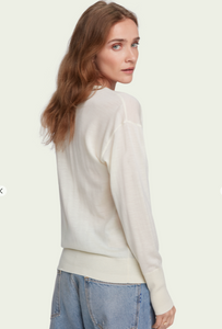 100% Merino wool long sleeve V-neck sweater - Cream