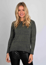 Load image into Gallery viewer, Lurex Knit Hi Low Crew Neck Sweater