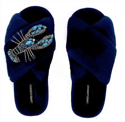 Navy Fluffy Slippers Crystal Blue Lobster Brooch