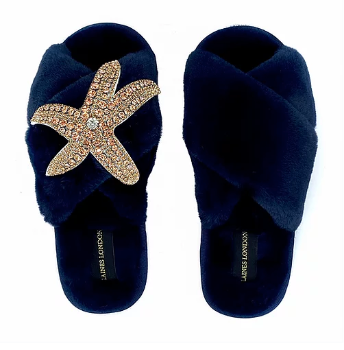 Navy Fluffy Slippers Rose Gold Starfish Brooch