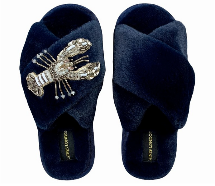 Navy Fluffy Slippers Crystal White Lobster Brooch